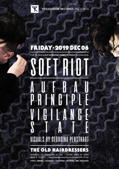 Soft Riot, Aufbau Principle, Vigilance State with visuals by Georgina Penstkart